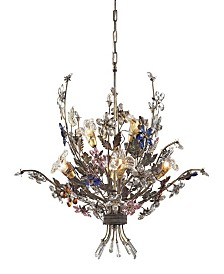 Brillare Collection 6-Light Chandelier Highlighted By Multi-Colored Crystal Flor