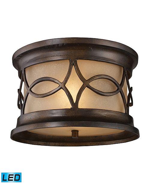 ELK Lighting Burlington Gate 2-Light Outdoor Flush Mount in Hazelnut Bronze - LED, 800 Lumens (1600 Lumens Total)