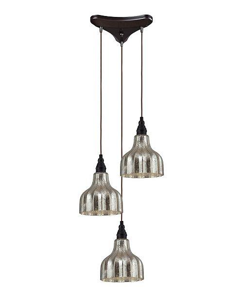 ELK Lighting Danica 3 Light Pendant in Oiled Bronze and Mercury Glass