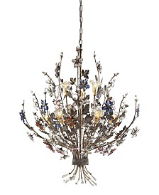 Brillare Collection 9-Light Chandelier Highlighted By Multi-Colored Crystal Flor