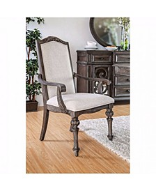 Wooden Arm Chair with Ivory Fabric Cushion Seat & Back, Pack of 2