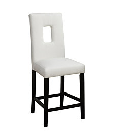 Benzara Wooden Counter High Chairs with Cutout Back, Set of 2