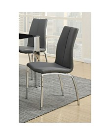 Benzara Leather Upholstery Dining Chair with Chrome Legs, Set of 2