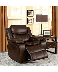 Benzara Leatherette Glider Recliner Chair with Large Padded Arms