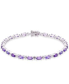 Amethyst (6-3/8 ct. t.w.) & White Topaz (7/8 ct. t.w.) Tennis Bracelet in Sterling Silver
