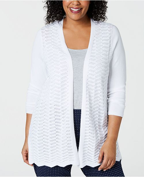Charter Club Plus Size Open Front Cardigan Sweater, Created
