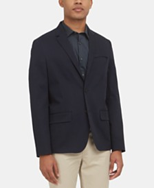 Kenneth Cole New York Men's Slim-Fit Techni-Cole Stretch Temperature-Regulating Navy Twill Blazer