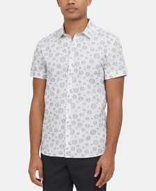 Kenneth Cole New York Men's Circle-Print Short Sleeve Shirt