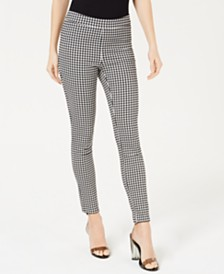 Maison Jules Gingham-Checked Pull-On Pants, Created for Macy's