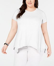 Plus Size Cotton Handkerchief-Hem Knit Top, Created for Macy's