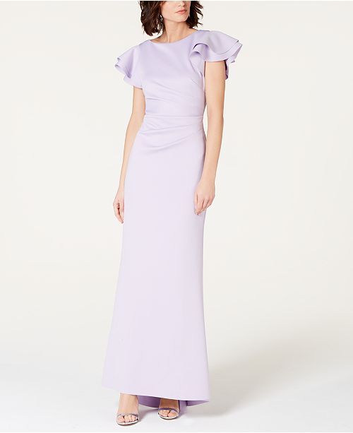 Jessica Howard V-Back Ruffled Scuba Gown