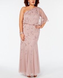 Adrianna Papell Plus Size Beaded One-Shoulder Gown
