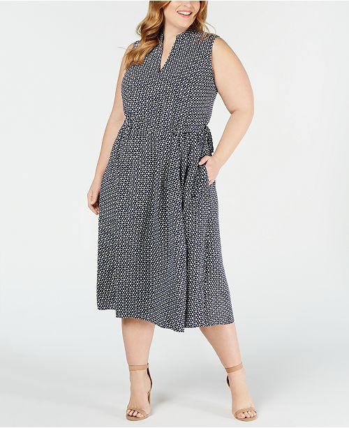 Anne Klein Plus Size Printed Drawstring Dress
