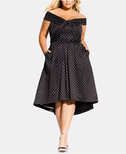 City Chic Trendy Plus Size Grace Polka Dot Off-The-Shoulder ...