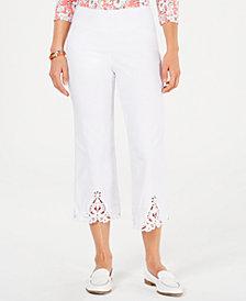 Charter Club Crochet Hem Wide Leg Pants, Created for Macy's