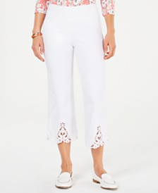 Charter Club Petite Crochet-Trim Capri Pants, Created for Macy's