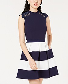 Juniors' Lace-Trim Fit & Flare Dress