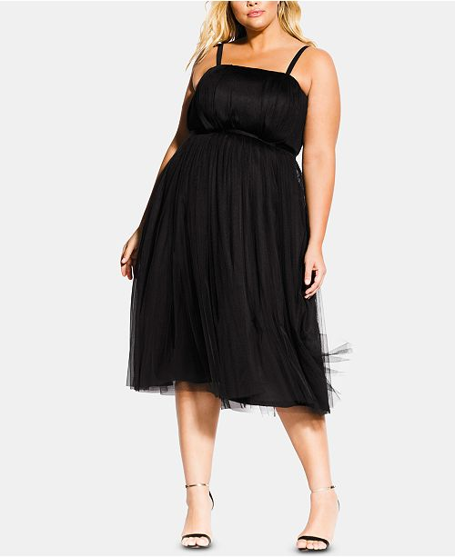 City Chic Trendy Plus Size Tulle Midi Dress & Reviews - Women - Macy\'s