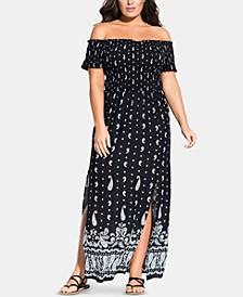 Trendy Plus Size Paisley Maxi Dress