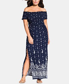 City Chic Trendy Plus Size Paisley Maxi Dress