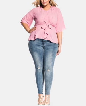 City Chic Tops TRENDY PLUS SIZE NORA TIE-BACK TOP