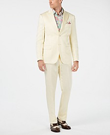 Orange Men's Slim-Fit Light Yellow Sateen Suit