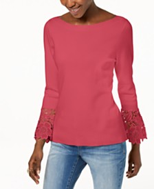 I.N.C. Lace-Cuff Bell-Sleeve Sweater, Created for Macy's