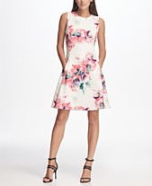 2130494ac5e DKNY Floral Print Scuba Fit   Flare Dress