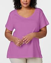 1d37ebd4 Karen Scott Plus Size Eyelet-Trim T-Shirt, Created for Macy's