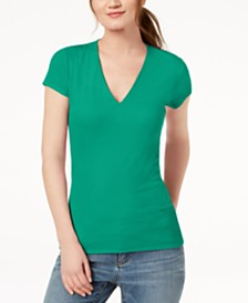 I.N.C. Petite Ribbed V-Neck Top, Created for Macy's