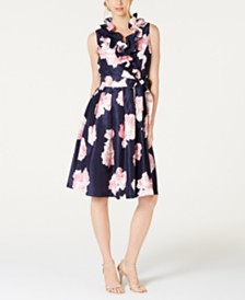 Jessica Howard Floral-Print Ruffled-Neck Dress