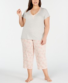 Charter Club Plus-Size Knit Cotton Short-Sleeve Top & Capri Pajama Pants Set, Created for Macy's