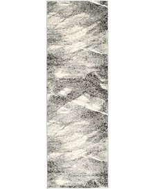 "Retro Grey and Ivory 2'3"" x 7' Runner Area Rug"