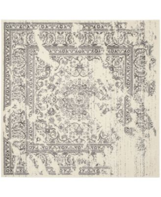 Adirondack Ivory and Silver 10' x 10' Square Area Rug