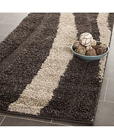 "Shag Dark Brown and Beige 2'3"" x 8' Runner Area Rug"