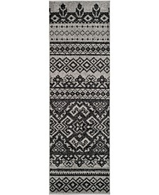 "Adirondack Silver and Black 2'6"" x 22' Runner Area Rug"