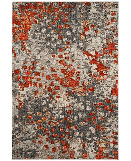 "Safavieh Monaco Gray and Orange 4' x 5'7"" Area Rug"