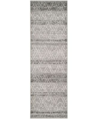 "Adirondack Silver and Ivory 2'6"" x 12' Runner Area Rug"