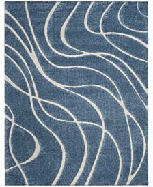 Shag Light Blue and Cream 8' x 10' Area Rug