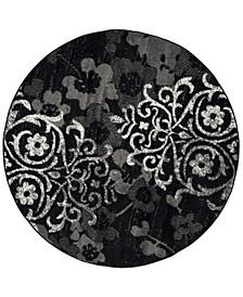 Adirondack Black and Silver 8' x 8' Round Area Rug