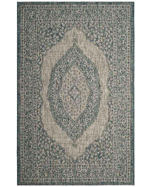 "Safavieh Courtyard Light Gray and Teal 2'7"" x 5' Sisal Weave Area Rug"