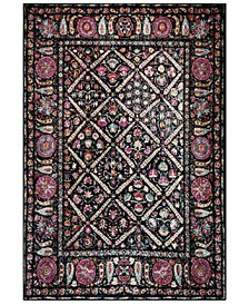 Adirondack Black and Fuchsia 4' x 6' Area Rug
