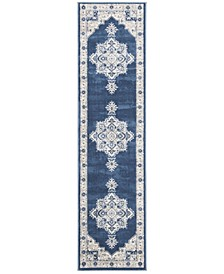 Brentwood Navy and Creme 2' x 12' Sisal Weave Runner Area Rug