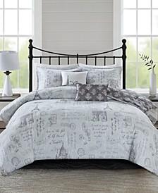 510 Design Marseille King/Cal King 5 Piece Reversible Paris Printed Comforter Set
