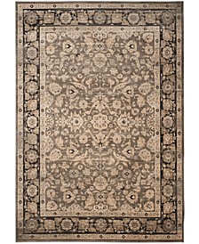 Vintage Taupe and Black 9' x 12' Area Rug