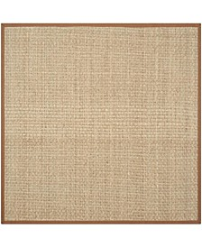 Natural Fiber Natural and Brown 4' x 4' Sisal Weave Square Area Rug