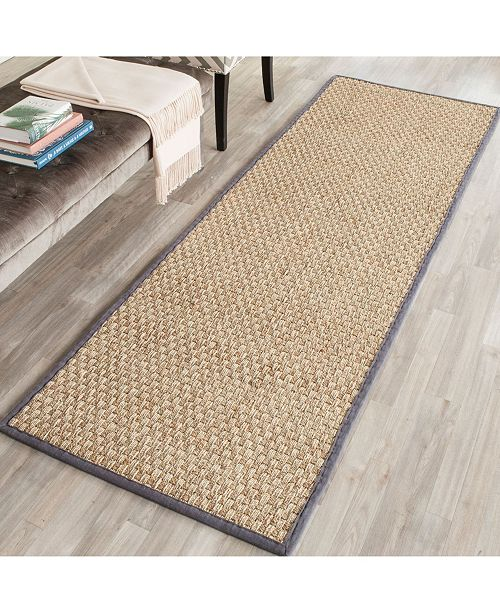 "Safavieh Natural Fiber Natural and Dark Grey 2'6"" x 10' Sisal Weave Runner Area Rug"
