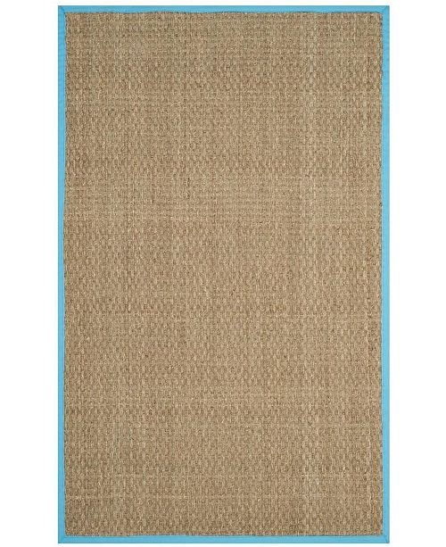 Safavieh Natural Fiber Natural and Turquoise 4' x 6' Sisal Weave Area Rug