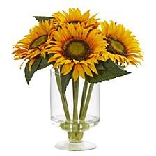 "12"" Sunflower Artificial Arrangement in Glass Vase"