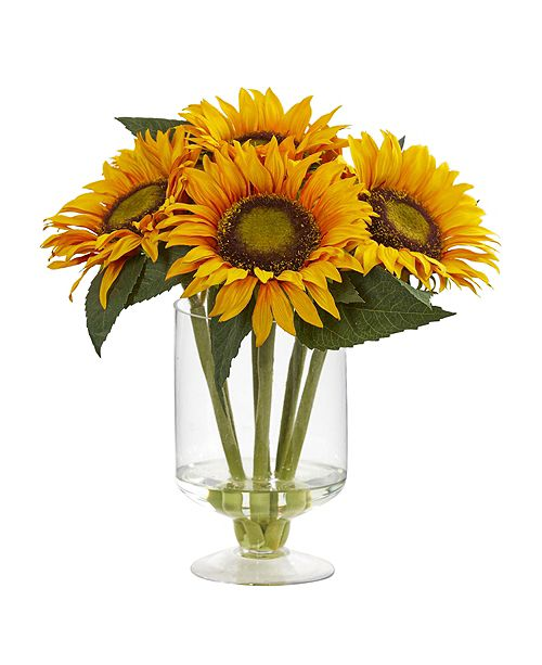 """Nearly Natural 12"""" Sunflower Artificial Arrangement in Glass Vase"""